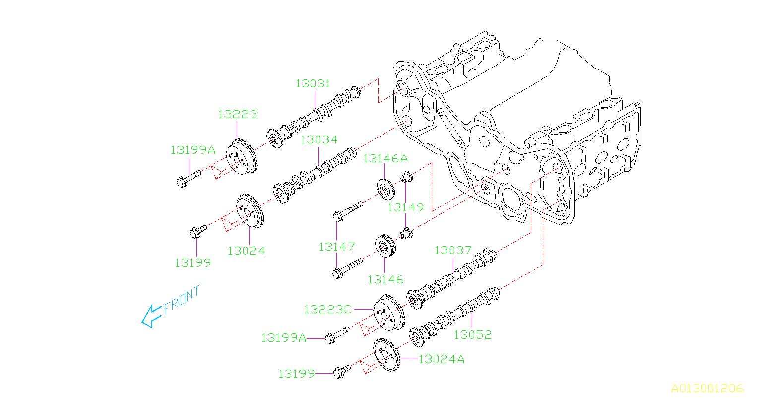 2008 Subaru Outback Engine Timing Chain Tensioner  Belt  Camshaft  Cooling