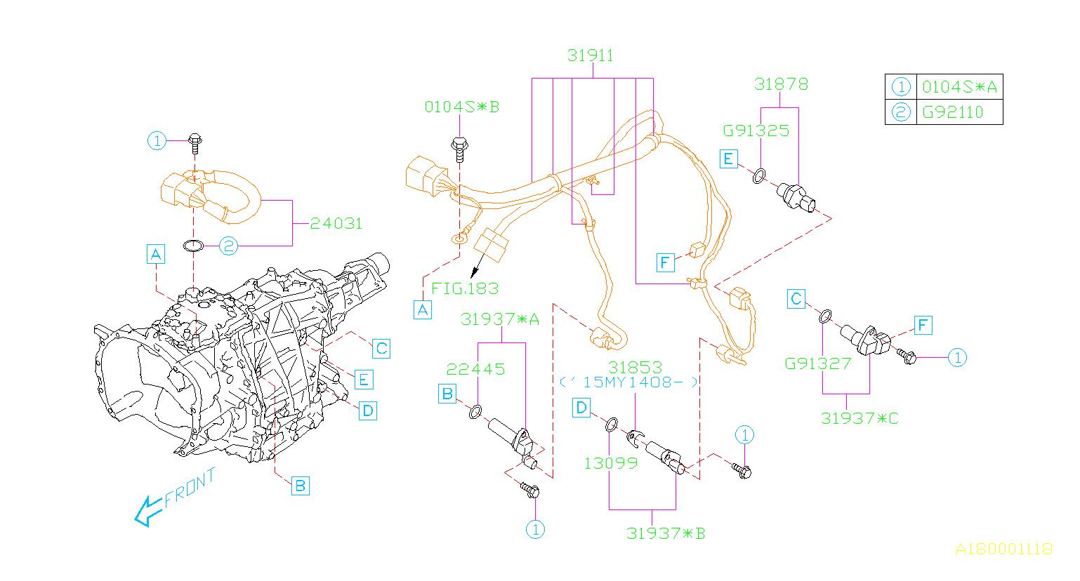 Subaru Impreza Harness-transmission  Control  Shift  Sensor  Automatic